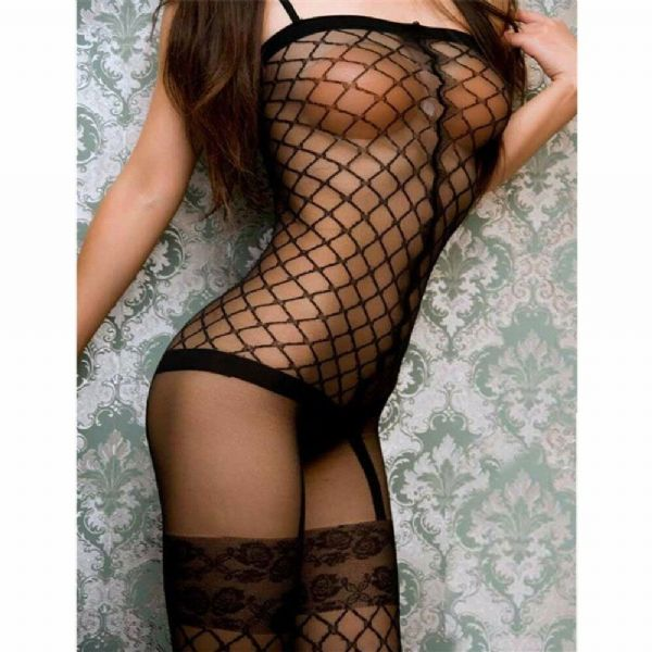 Womens Erotic Lingerie Sexy Bodystocking Mesh Crotchless Role-Play
